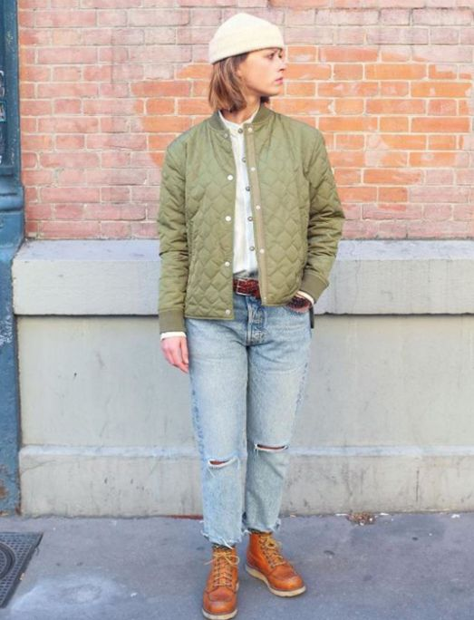 Victoria's interpretation of this summer color ... the olive green, mixing military and workwear