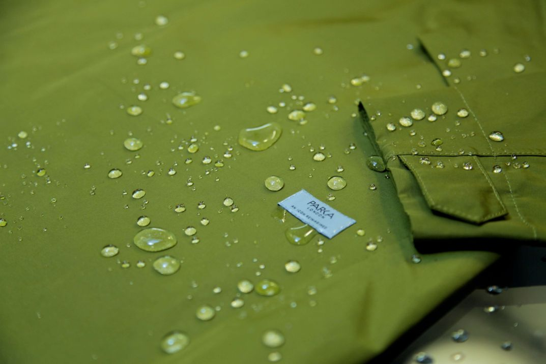 "The <strong><a href=""https://www.parkalondon.com/catalogsearch/result/?q=JAYDEN"">JAYDEN</a></strong> raincoat is 100% waterproof"