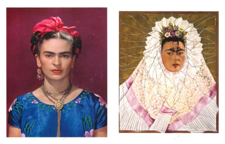 Frida Kahlo photographed by Nickolas Muray and Self-portrait as a Tehuana by Frida Kahlo
