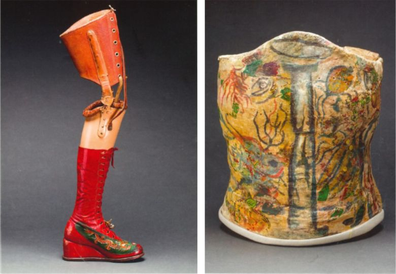 Prosthetic leg and lace-up boot belonging to Frida Kahlo and Plaster corset painted by Frida Khalo. Photographs by Javier Hinojosa