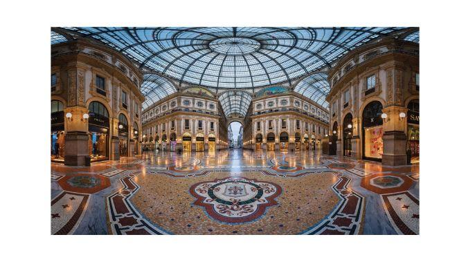 Galleria Vittorio Emanuele II's elaborate glass dome mosaic decor